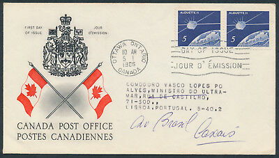 1966 #445 Alouette II FDC, CPO Presentation Cachet with Letter, to Portugal