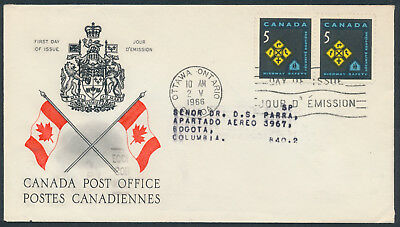 1966 #447 Highway Safety FDC, CPO Presentation Cachet with Letter to Columbia