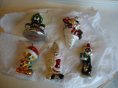 Warner Bros Cartoon glass ornament lot Taz Tweety  bird martian bugs sylvester