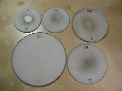 "Set of 5 vintage used 1970's Slingerland Remo coated drum heads, 12"" 16"" & 22"""