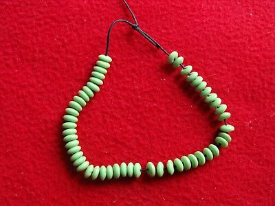 51 pc vintage green mint disc Bead necklace,arrowhead,green venentian