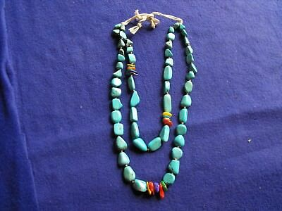 vintage venetian glass Bead necklace,arrowhead,turquoise nugget beads B-15