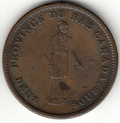 Canada Colonial token Breton 521  LC-9D2  Penny Bank of Montreal on ribbon 1837