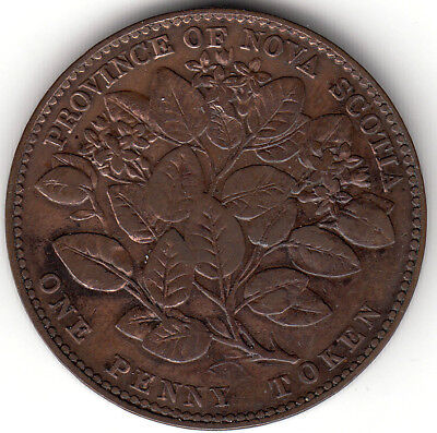 Canada Colonial token Breton 875  NS-6A1  Penny Mayflower 1856 with LCW