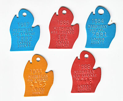 Five New Lapeer County Michigan Dog Tag Licenses 1984/1986-1989
