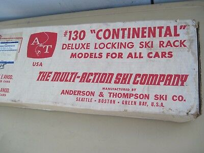 A&T #130 Continental Deluxe Locking Ski Rack.Vintage Car roof accessory. In box