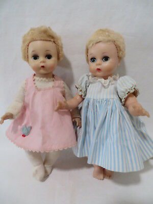 """LOT of 2 VINTAGE 8"""" MADAME ALEXANDER LITTLE GENIUS DOLLS in TLC TAGGED OUTFITS"""
