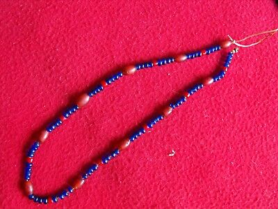 vintage blue & red venetian glass Indian trade Bead necklace,arrowhead, B-19
