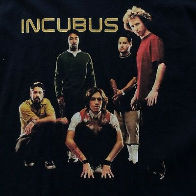 INCUBUS Morning View 2002 Band Tour Black Graphic T Shirt LARGE Cotton