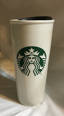 **new** Starbucks White Ceramic Travel Mug 16 Oz W/ Green Starbucks Logo