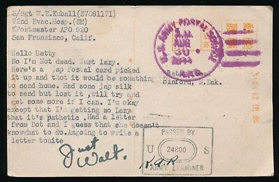 WWII PACIFIC SOLDIER S/Sgt WALT KUBALL JAPAN PIC PC to BETTY TWEED BINFORD ND