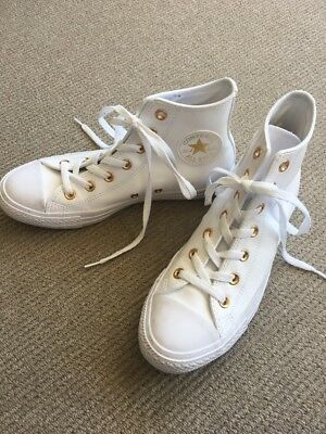 Converse Chuck Taylor Gold  Eyelets White Leather Look US8 Worn Once