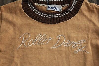 Children's Vintage Novelty T-shirt Brown Roller Derby Long Sleeve Scout-Tex Knit