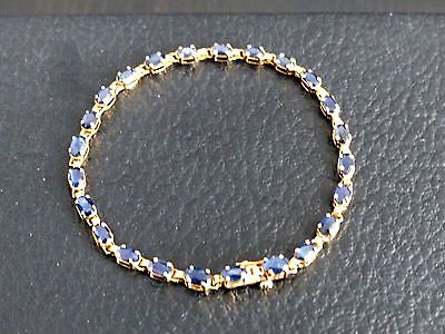14K Yellow Gold 24 Blue Sapphire 7.5 Inch Tennis Bracelet -Get Extra 10% Off