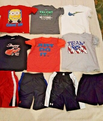 Lot of 10 Boy's NIKE UNDER ARMOUR Shirts / Shorts clothes SIZE 7 Minion