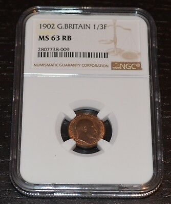 1902 Great Britain 1/3 Farthing Graded by NGC as MS 63 RB