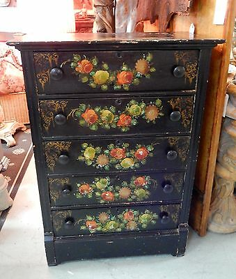 Antique Victorian Era Hand Painted Roses With Mother Or Pearl Tall Chest Dresser