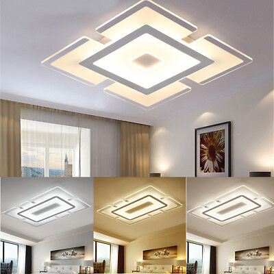 Modern White Acrylic Square LED Ceiling Light Wall Mount Lamp Living Room Decor