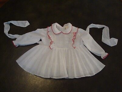 Vintage Baby/toddler Smocked Dress - Pleats & Ruffles Long Sleeves Size 12 Mos