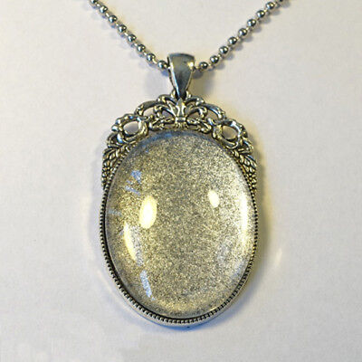 ANTIQUE SILVER KIT 40x30mm Pendant Setting + Chain + Glass Cabochon + Glue