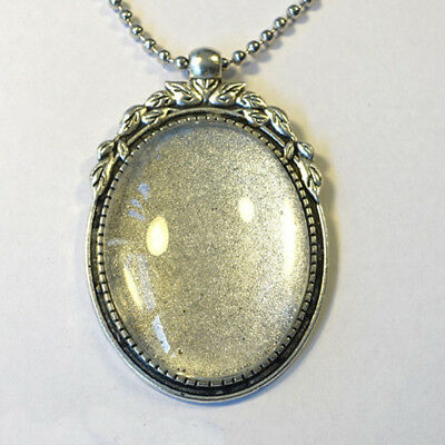 ANTIQUE SILVER KIT 40x30mm Pendant Setting + Chain + Glass Cabochon + Glue (SB)