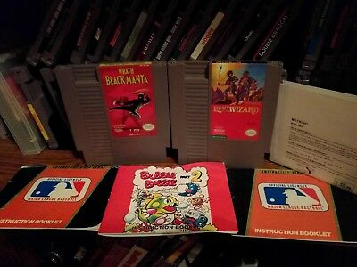 Nes Manual & Game Lot: Bubble Bobble Part 2, Baseball, Black Manta And More!