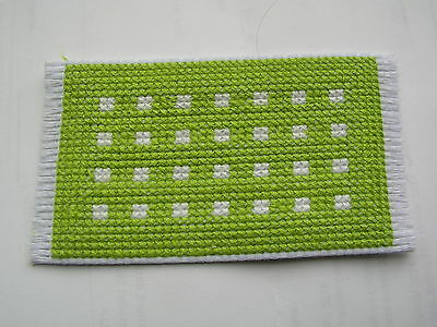 Dolls house rug cross stitch handmade green with white spots