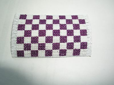 Dolls house rug cross stitch handmade purple and white squared