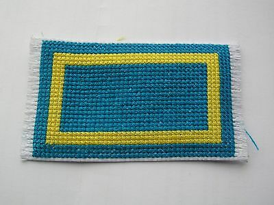 Dolls house rug cross stitch handmade blue and yellow rectangle