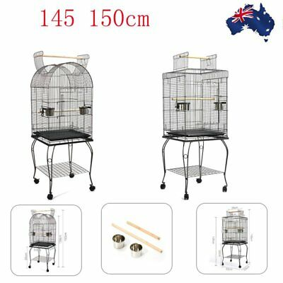 145 150cm Bird Cage Parrot Aviary Pet Stand-alone Budgie Perch Castor Wheels