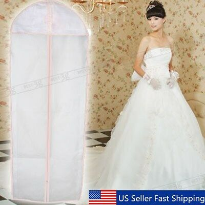 "71"" Breathable Bridal Wedding Dress Gown Garment Cover Storage Bag Protecter US"