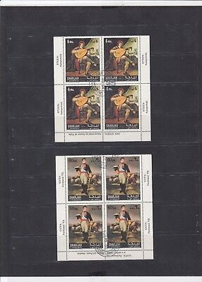 1143 UAE Sharjah & Dependencies 2 Block of 4 MNH Stamps Cancelled To Order