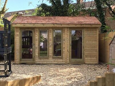 4.5m x 3m 19mm Tanalised t&g LOG Insulated, DG, Garden room and shed combination