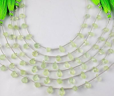 "1 Strand Natural Prehnite Twisted Drops Shape Faceted 5x8-5x10mm Bead 7"" Long"
