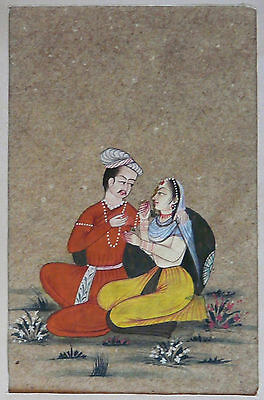 Old Hand Painted Mughal Miniature Painting Young Loving Couple