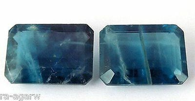 1 Pair AAA Natural Blue Fluorite Rectangle 17x23mm 84Cts Emerald Cut Gemstone