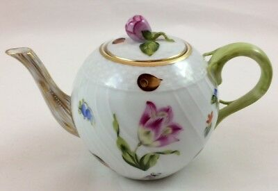 """Herend Hand Painted Individual 4"""" Porcelain Teapot - Fruits & Flowers Design"""