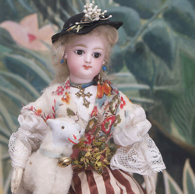 "11"" Antique Tiny French Fashion doll by Gaultier original costume w/box and lamb"