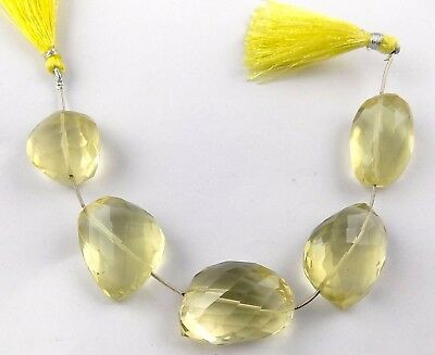 "1 Strand Lemon Quartz Nuggets Beads 26x23-28x33mm Faceted Cut 8"" Long Strands"