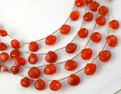 """1 Strand Natural Carnelian Gemstone Heart 9x9-12x12mm Faceted 8"""" Long Briolette"""