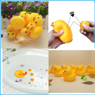 20x100X Baby Shower Water Play Toys Mini Yellow Duck  Squeeze Animal Rubber toys