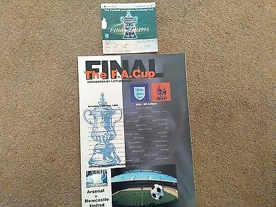 Fa Cup Final Programme And Stub Between Arsenal And Newcastle 16Th May 1998