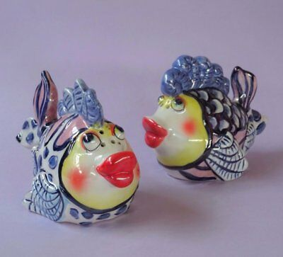Figural Fish *SALT & PEPPER SHAKERS* Hand Painted Features & Lustre Glaze