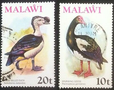1975 Malawi. 20T Knob-billed Duck SG480 & 10T Spur winged Goose SG502. Used