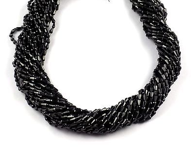 """1 Strand Natural Black Spinel Gemstone Faceted Drops Shape Beads 2.5x5mm 13""""Long"""