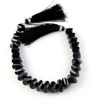 """1 Strand Natural Black Spinel Twisted 8x8-10x10mm Faceted 7"""" Long Briolette Bead"""