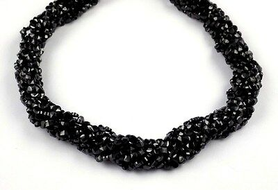 """5 Strand Black Spinel Faceted Gemstone Coin Shape Checker Cut 4mm Beads 13"""" Long"""