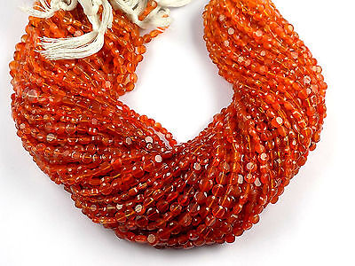 """5 Strand Orange Shaded Carnelian Gemstone Coin Shape 4.5-5mm Faceted 13.5"""" Long"""