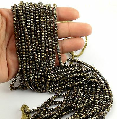 """5 Strand Black Spinel Gold Coated Faceted Rondelle Bead 3.5-4mm Bead 13.5"""" Long"""
