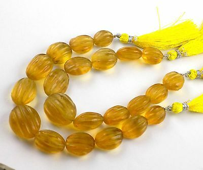 "1 Strand Natural Yellow Fluorite Oval Carving Melon Cut Free Size 11 Pcs 7"" Long"